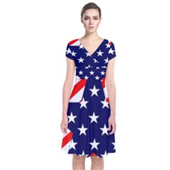 Patriotic Usa Stars Stripes Red Short Sleeve Front Wrap Dress