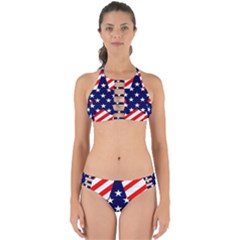 Patriotic Usa Stars Stripes Red Perfectly Cut Out Bikini Set