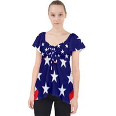 Patriotic Usa Stars Stripes Red Lace Front Dolly Top