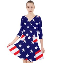 Patriotic Usa Stars Stripes Red Quarter Sleeve Front Wrap Dress