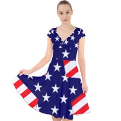 Patriotic Usa Stars Stripes Red Cap Sleeve Front Wrap Midi Dress