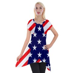 Patriotic Usa Stars Stripes Red Short Sleeve Side Drop Tunic