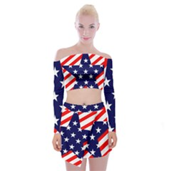 Patriotic Usa Stars Stripes Red Off Shoulder Top with Mini Skirt Set