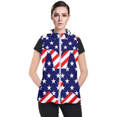 Patriotic Usa Stars Stripes Red Women s Puffer Vest