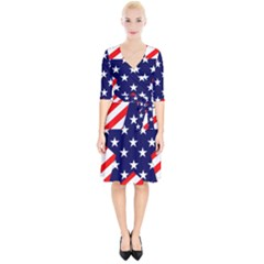 Patriotic Usa Stars Stripes Red Wrap Up Cocktail Dress