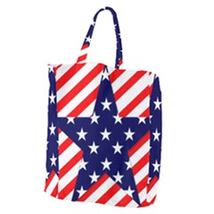Patriotic Usa Stars Stripes Red Giant Grocery Zipper Tote