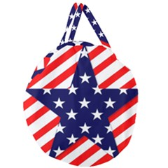 Patriotic Usa Stars Stripes Red Giant Round Zipper Tote