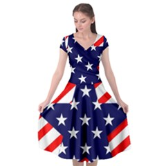 Patriotic Usa Stars Stripes Red Cap Sleeve Wrap Front Dress