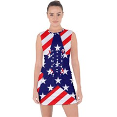 Patriotic Usa Stars Stripes Red Lace Up Front Bodycon Dress