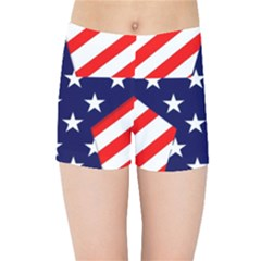 Patriotic Usa Stars Stripes Red Kids Sports Shorts