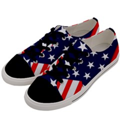 Patriotic Usa Stars Stripes Red Men s Low Top Canvas Sneakers