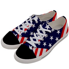 Patriotic Usa Stars Stripes Red Women s Low Top Canvas Sneakers