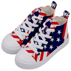 Patriotic Usa Stars Stripes Red Kid s Mid-Top Canvas Sneakers