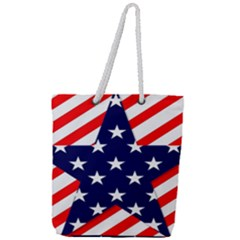 Patriotic Usa Stars Stripes Red Full Print Rope Handle Tote (Large)