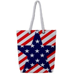 Patriotic Usa Stars Stripes Red Full Print Rope Handle Tote (Small)