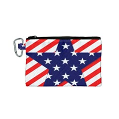 Patriotic Usa Stars Stripes Red Canvas Cosmetic Bag (Small)