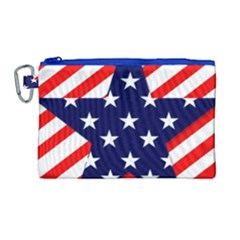 Patriotic Usa Stars Stripes Red Canvas Cosmetic Bag (Large)