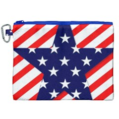 Patriotic Usa Stars Stripes Red Canvas Cosmetic Bag (XXL)