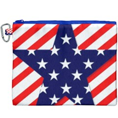 Patriotic Usa Stars Stripes Red Canvas Cosmetic Bag (XXXL)