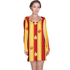 Autumn Fall Leaves Vertical Long Sleeve Nightdress by Celenk