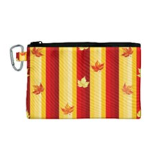 Autumn Fall Leaves Vertical Canvas Cosmetic Bag (medium) by Celenk