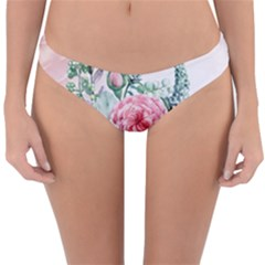 Flowers And Leaves In Soft Purple Colors Reversible Hipster Bikini Bottoms by FantasyWorld7