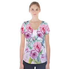 Flowers And Leaves In Soft Purple Colors Short Sleeve Front Detail Top by FantasyWorld7
