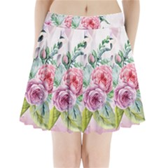 Flowers And Leaves In Soft Purple Colors Pleated Mini Skirt by FantasyWorld7