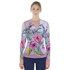 Flowers And Leaves In Soft Purple Colors V-neck Long Sleeve Top by FantasyWorld7
