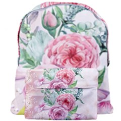 Flowers And Leaves In Soft Purple Colors Giant Full Print Backpack by FantasyWorld7