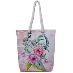 Flowers And Leaves In Soft Purple Colors Full Print Rope Handle Tote (small) by FantasyWorld7