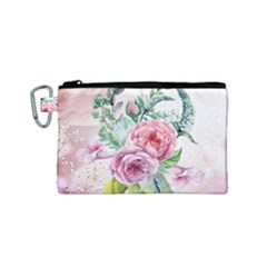 Flowers And Leaves In Soft Purple Colors Canvas Cosmetic Bag (small) by FantasyWorld7