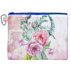 Flowers And Leaves In Soft Purple Colors Canvas Cosmetic Bag (xxl) by FantasyWorld7