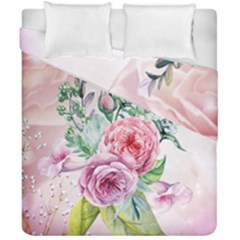 Flowers And Leaves In Soft Purple Colors Duvet Cover Double Side (california King Size) by FantasyWorld7
