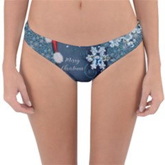 Funny Santa Claus With Snowman Reversible Hipster Bikini Bottoms by FantasyWorld7