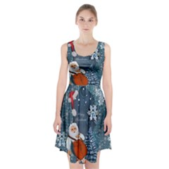 Funny Santa Claus With Snowman Racerback Midi Dress by FantasyWorld7