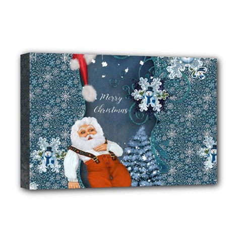 Funny Santa Claus With Snowman Deluxe Canvas 18  X 12   by FantasyWorld7