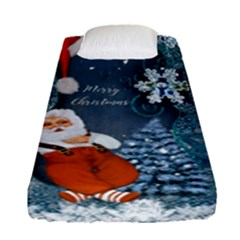 Funny Santa Claus With Snowman Fitted Sheet (single Size) by FantasyWorld7
