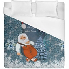 Funny Santa Claus With Snowman Duvet Cover (king Size) by FantasyWorld7