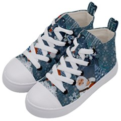 Funny Santa Claus With Snowman Kid s Mid Top Canvas Sneakers by FantasyWorld7