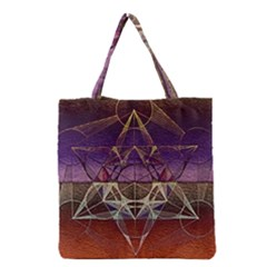 Cube Of Metatrone Diamond Grocery Tote Bag by Cveti