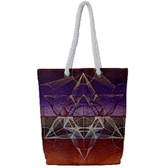 Cube Of Metatrone Diamond Full Print Rope Handle Tote (small) by Cveti
