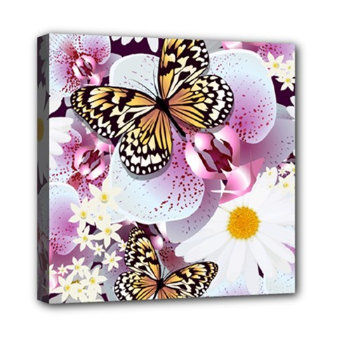 Butterflies With White And Purple Flowers  Mini Canvas 8  X 8
