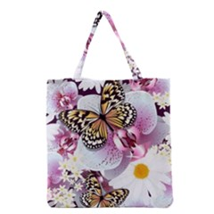 Butterflies With White And Purple Flowers  Grocery Tote Bag by allthingseveryday