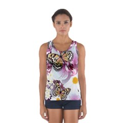 Butterflies With White And Purple Flowers  Sport Tank Top  by allthingseveryday