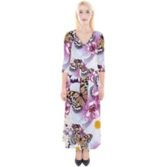 Butterflies With White And Purple Flowers  Quarter Sleeve Wrap Maxi Dress