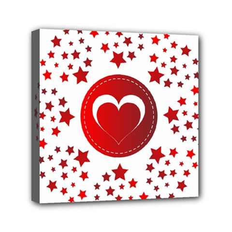 Monogram Heart Pattern Love Red Mini Canvas 6  X 6