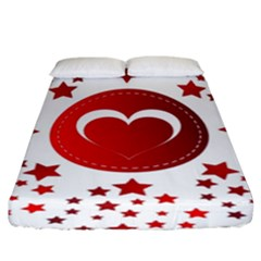 Monogram Heart Pattern Love Red Fitted Sheet (king Size)