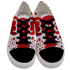Monogram Heart Pattern Love Red Men s Low Top Canvas Sneakers