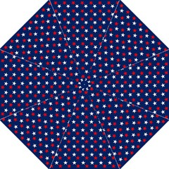 Patriotic Red White Blue Stars Blue Background Folding Umbrellas by Celenk